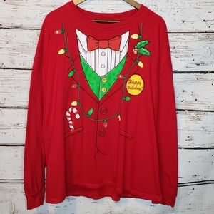 Happy Holidays Christmas Red Long Sleeve T-Shirt